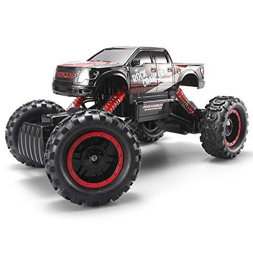 FSTgo® RC Auto Rock Crawler 2,4 GHz 4 WD 1/14 Offroad Elektro Racing Truck Spielzeug für Kinder mit LED-Scheinwerfer (Rot) (Rc Crawler Trucks)