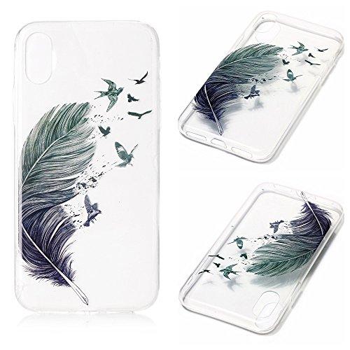 Handy Case für Apple iPhone X 10 | TPU Cover mit Motiv | Silikon Dünn Slim Handyhülle Schutzhülle Mehrfarbig Weich Tasche Schale Schutz Hülle Blaue Federn