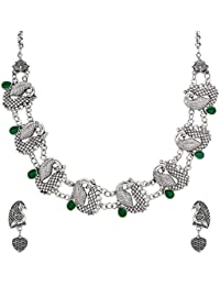The Luxor Antique Oxidised Silver Plated Peacock Necklace Set For Women NK-2224