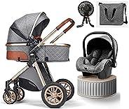 Baby Stroller 3 in 1 Luxury Bassinet Stroller Foldable Baby Stroller Easy Fold Stroller Footmuff Blanket Cooli
