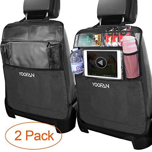 YOOFAN 2 Stück Auto Rückenlehnenschutz, Große Taschen und iPad-/Tablet-Fach, Auto Rücksitz Organizer, Wasserfester Autositz Rückenschutz, Kick-Matten-Schutz in Universeller Passform -