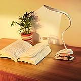 Leselampe,Etmury LED Schreibtischlampe,Flexible Clip Licht Schwanenhals klemmleuchte,USB wiederaufladbare LED Schreibtisch Lampe mit 3 Helligkeit und Touch Sensitive Control (Weiß)