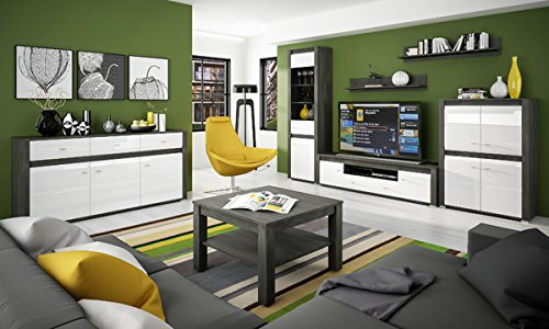 Wohnzimmer komplett 1662022 Wohnwand 4-teilig schwarzkiefer / weiß Hochglanz - 6