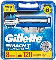 Gillette Mach3 Turbo Razor Blades, 8 Refills