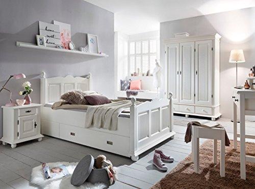 Kinderzimmer Set 'Emilia 3' 6-teilig Schminktisch Mädchenzimmer Bett 120x200 Weiß