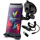 mobilefox® 2in1 Set 360° Auto KFZ PKW Handy Halterung Saugnapf Halter + Typ-C Ladekabel für Samsung Galaxy S9 S8 Plus Note 8 A3 A5 (2017)