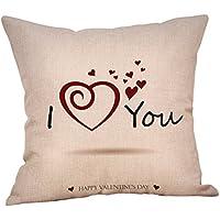 DIPOLA Funda de Almohada Happy LoveS Day Throw Funda de cojín Sweet Love Square (18