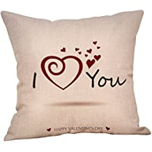 DIPOLA Funda de Almohada Happy LoveS Day Throw Funda de cojín Sweet Love Square (18