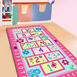 LELVA Fashion Hopscotch Kids Carpet Bedroom Sweet Pink Rug Designer Figure Children s Rugs