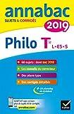 Annales Annabac 2019 Philosophie Tle L, ES, S - Sujets et corrigés du bac Terminale séries générales