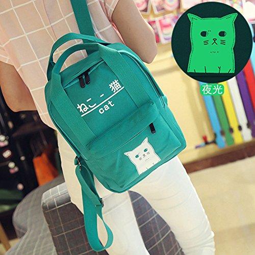 Moda Spalla Borsa,Kword Donne Adolescente Ragazzo Carino Gatto Stampato Cerniera Zaino Scuola Borse Stile Giapponese Verde