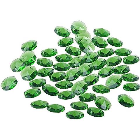 Perline di cristallo allentati, Yier® 14 millimetri di vetro lampadario lampada di sostituzione Suncather prismi a 2 fori Octagon Perlina, Confezione da 100 (verde)