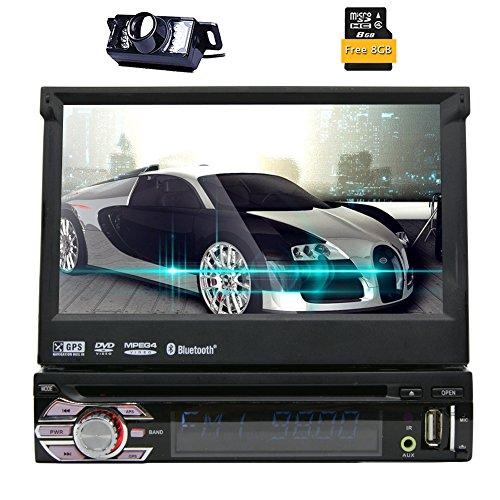 Eincar 1-DIN avec 7 pouces Autoradio écran LCD tactile 800 * 480 HD GPS Autoradio DVD / CD / USB / AUX-IN / MP3 / Ipod Radio Bluetooth avec carte gratuit Carte + Caméra de recul