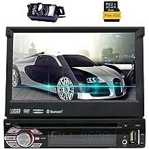 Eincar 1-DIN Autoradio con 7 pulgadas de pantalla táctil LCD de 800 * 480 HD GPS para coche estéreo DVD / CD / USB / / MP3 / Bluetooth Radio Ipod AUX-IN con la tarjeta del mapa libre + cámara de reserva
