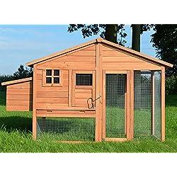 Zooprimus ❤ Poulailler en bois pour jardin extérieure 5 poules Cage Canard 2 perchoir Nichoir 190 x 67 x 117 cm Poulailler de luxe 143