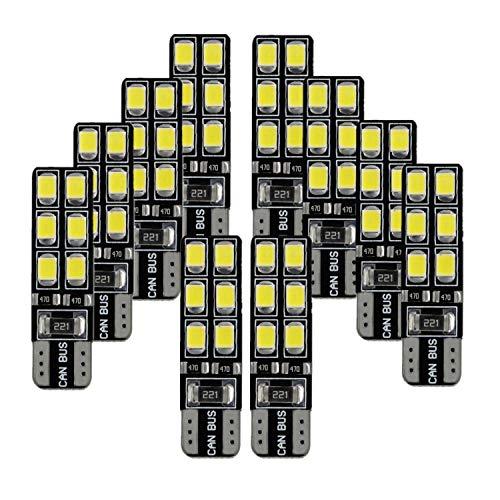 FEZZ Lampadine Led Auto Interni Luce Targa W5W T10 LED Luci Posizione Canbus Bianco 6000K, 10 Pack