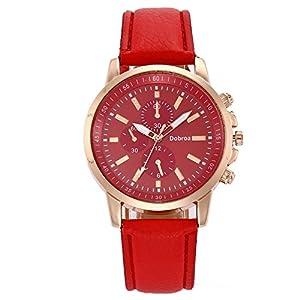 Unisex Uhren, BBring Herren Damen Luxus PU Leder Quarzuhr Six-Pin Chronograph Sport Uhren Lässige Businessuhren