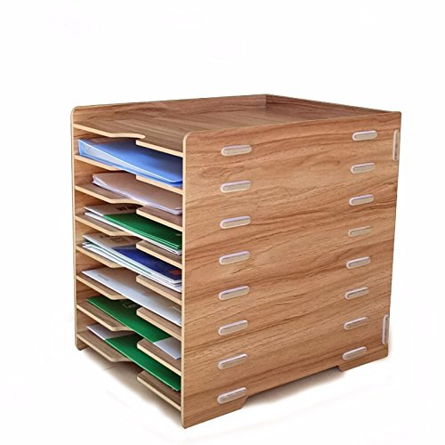 DIY Wand Literatur Halter Feilenhalter kratzfeste Front-Load Einreichung Tabletts Schreibtisch Organizer Briefablage, aus Holz Multilayer Datei Halter Desktop Office Supplies Storage Rack Archive Klassifizierung 28.2X35X35Cm, kirschrote Farbe (Home-office-einreichung)