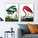 YDGG Poster Canvas Painting Prints Flamingo Posters Prints Green Art Wall Pictures Living Room decor-50x70cmx2 pcs no frame
