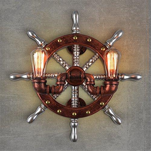 BOOTU LED Wandleuchte nach oben und unten Wandleuchten Retro industrial style Wandleuchte Holzboot Ruder trim Eisen Rohre zu den Mediterranen bar eine Nachttischlampe, Wandleuchte 50 * 50 cm Licht