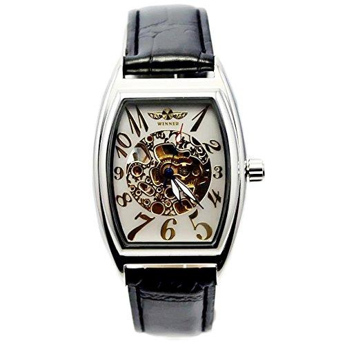 Gute doux Hommes de montre mécanique automatique avec cadran blanc Affichage analogique et bracelet en cuir noir