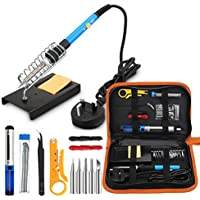 Soldering Iron Kit, 60W Adjustable Temperature Soldering-iron Gun Kit with 5 Soldering Tips, Desoldering Pump, Tin Wire Tube, Soldering Iron Stand, Tweezers, Wire Stripper Cutter and 2 Electronic Wire
