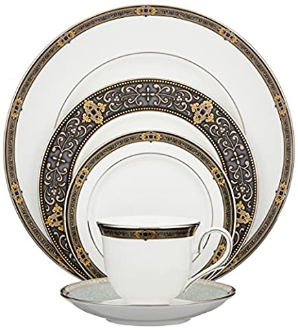 Lenox Vintage Jewel Platinum-Banded Bone China 5-Piece Place Setting, Service for 1 by Lenox