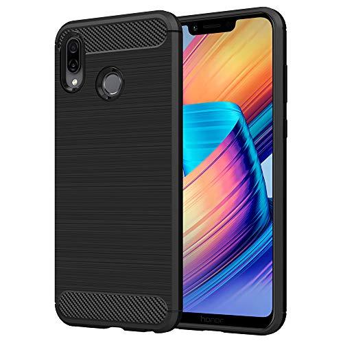 Anjoo Kompatibel für Huawei Honor Play Hülle, Carbon Fiber Texture-Inner Shock Resistant-Weich & Flexibel TPU Cover Case für Huawei Honor Play (6,3 Zoll), Schwarz