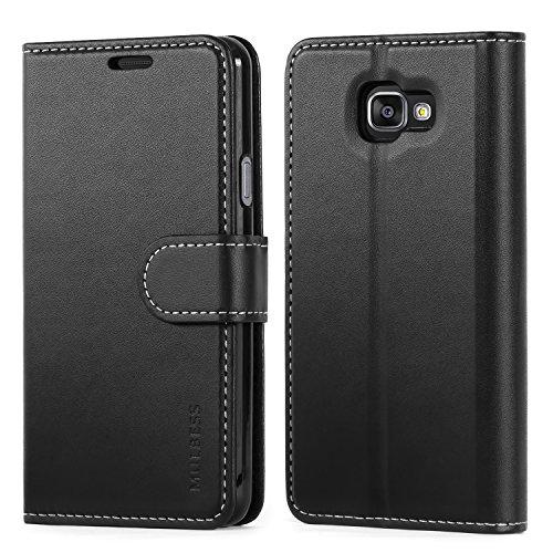 Mulbess Business Style Ledertasche im Ständer Book Case / Kartenfach für Samsung Galaxy A3 2016 Tasche Hülle Leder Etui,Schwarz