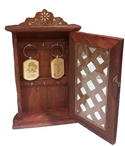 Stylla London Special Father \'S Day Geschenk Schlüsselkasten mit Panel Tür Chex Design, Holz, braun, 11,5x 6,85x 2,76cm