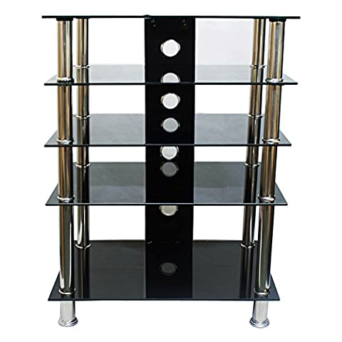 Tekbox 5 Tier Shelf TV Stand Black Glass Stainless Steel Cabinet Media Entertainment Unit HiFi DVD SKy Box Console