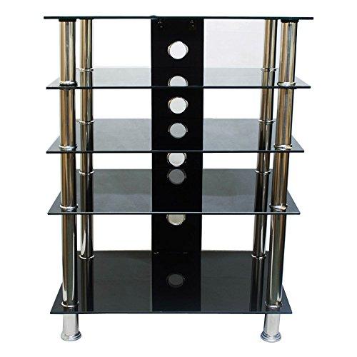 tekbox-5-tier-shelf-tv-stand-black-glass-stainless-steel-cabinet-media-entertainment-unit-hifi-dvd-s