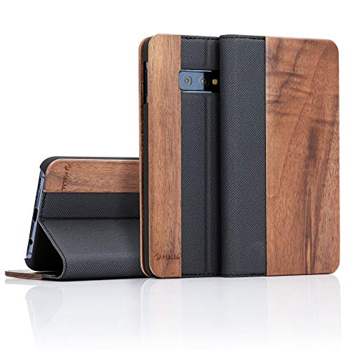 NALIA Echt-Holz Klapphülle kompatibel mit Samsung Galaxy S10e, Handmade Phone Case Handyhülle Natur-Holz Hülle Handy-Tasche Etui Flipcase, Dünnes Kunst-Leder Wood Book Cover Bumper, Farbe:Walnuss