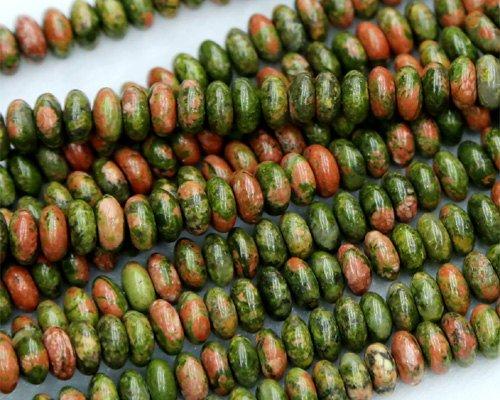 1Strähnen Natur Grün Pink Unakite Rondelle Lose Perlen Passform Jewelry Halskette Armbänder 4x 8mm 38,1cm Kleinstreuer/Salzstreuer 03255