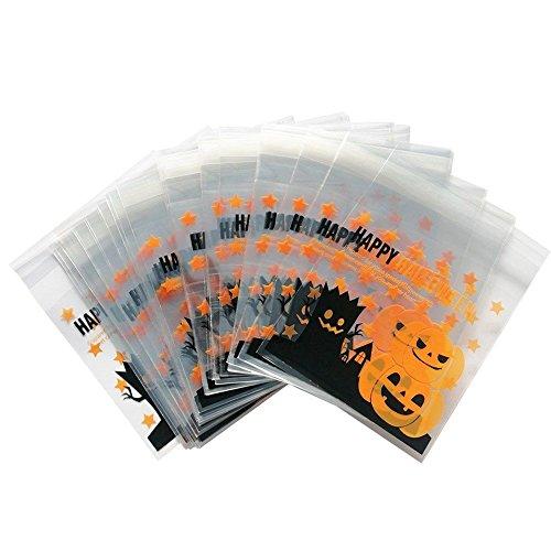 Lumanuby 100x Kürbis Selbstklebend Tüten für Halloween Umweltfreundlich Opp Beutel Schöne Pumpkin Verpackungs Beutel Flach, Nizza Zubehör von Bäckerei Oder Dessert Shop/DIY, Größe 10*10+3cm size 10*10.0cm (Kürbisse)