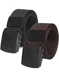 Chalier Cinturón Táctico Militar Ajustable Cintura Hombres Lona Nylon  Hebilla Plástica 97b588004dd6