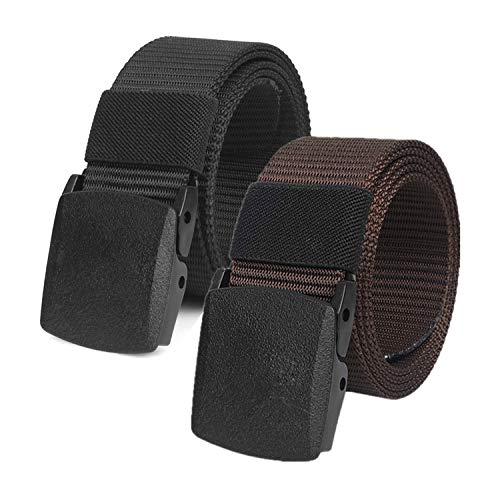 2 Piezas Cinturon Hombre Tactico Nylon Militar con Hebilla Plástica (Negro y Marron)