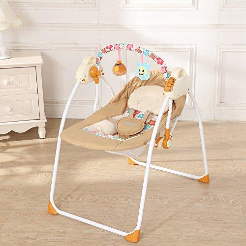 Decdeal Elektrische Babyschaukel Automatische Baby Wiege für 0-12 Monate Baby, mit Handy Verbinden,12 Melodien, 3 Schaukelgeschwindigkeiten, MP3-Player via USB