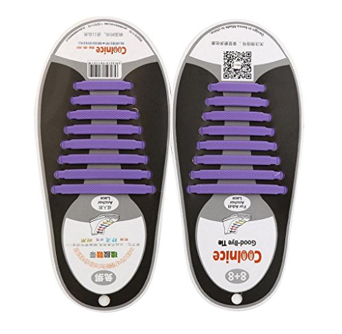 Roxo De Laço Não Unisexo Unidades Amcool Atacadores Ténis 16 Definir Encaixar Silicone Sapato Elástico Todos SZT06Zwpq