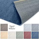 Designer-Teppich Pastell Kollektion | Flauschige Flachflor Teppiche fürs Wohnzimmer, Esszimmer, Schlafzimmer oder Kinderzimmer | Einfarbig, Schadstoffgeprüft (Royal Blau, 140 x 200 cm)