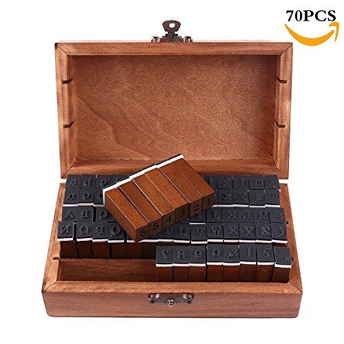 ZLXC 70 pcs Holz Gummi Stempel Set Box Holz Stempelset Alphabet Buchstaben Zahlen Vintage Pc-gehäuse