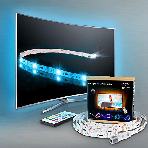 LED Strip Fernseher, TV Beleuchtung 2M/6.56ft USB LED Leiste Für 40 bis 60 HDTV RGB LED TV Hintergrundbeleuchtung mit 24keys Remote, LED Streifen