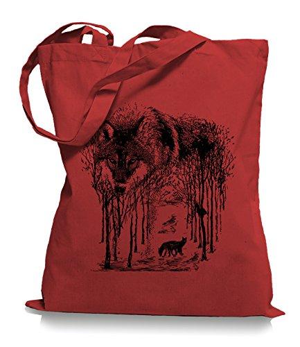 Ma2ca® Wolf Forrest - Jutebeutel Stoffbeutel Tragetasche / Bag WM101 Classic Red