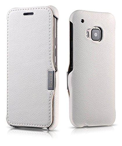 Luxus Tasche für HTC one M9 / Case Außenseite aus Echt-Leder / Innenseite aus Kunstleder / Modell: Business / Schutz-Hülle seitlich aufklappbar / ultra-slim Cover / Farbe: Weiß
