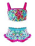 IKALI Costume da Bagno da Bambina, Bikini con Volant Floreale, Costume da Bagno in Spiaggia, Costumi da Bagno Estivi per Bambini 7anni