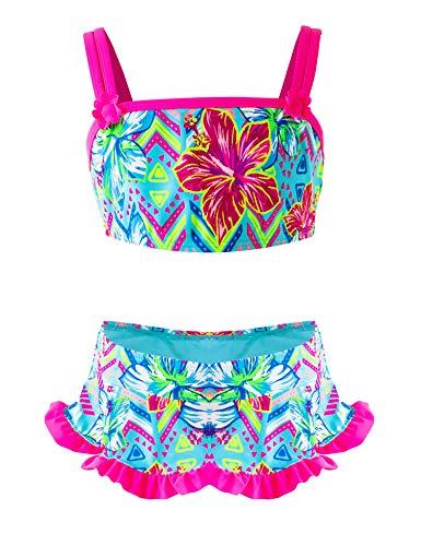 IKALI Mädchen Zweiteiler Badeanzug, Rüschen-Blumenbikini-Set, Strand Badeanzug, Sommer Bademode für Kinder, Blume, 5Jahre Mädchen Rüschen Set