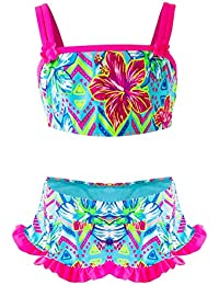 Traje de Baño Niña, Conjunto de Bikini Flamingo de Dos Piezas, Verano Playa Baño 50+ UPF UV Sun Protection