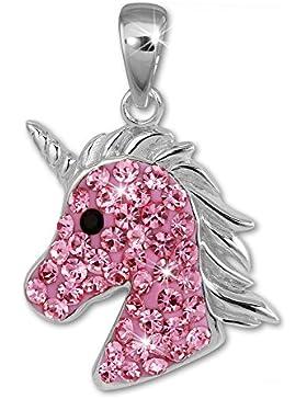 SilberDream Kettenanhänger Einhorn-Kopf Zirkonia rosa Kinder Anhänger 925 Sterling Silber SDH459A