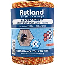 Rutland 19-186R Fil synthétique pour clôture électrique Jumbo Electro-Wire - 250 m Orange/jaune