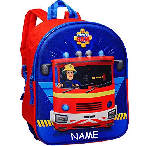 alles-meine.de GmbH 3D Effekt _ Kinder Rucksack - Feuerwehrmann Sam - inkl. Name - Tasche - wasserfest & beschichtet - Kinderrucksack groß Kind - Jungen - Kindergartentasche - z... -